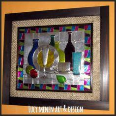 Cuadro rústico, tema bodegón en arte repujado y pintura vitral.