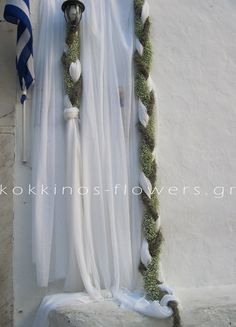 Hanging garlands Chapel in a Greek island decoration by kokkinos-flowers,gr, #wedding #gamos