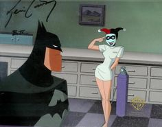"""Original production cel, featuring Harley and Batman, signed by Bruce and Timm Kevin Conroy from the cartoon """"Mad Love,"""" made by Warner Bros. Animation unit in the 1990s. The hand-painted cel is matched with the background from the original production art."""