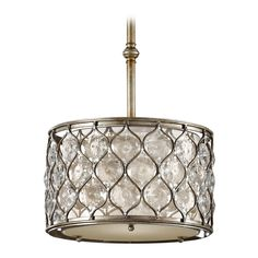 Pendant Light with Beige / Cream Shade in Burnished Silver Finish | P1259BUS | Destination Lighting