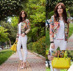 Milanoo Bomber, Asos Tee, Zara Jeans, Black Five Bag, Mango Sandals