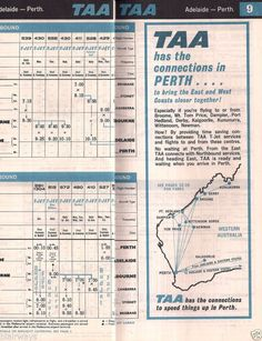 TAA Trans Australia Airlines Timetable Western Australia Routes Australian Airlines, Domestic Airlines, Australian Vintage, Air New Zealand, Vintage Travel Posters, Western Australia, Maps, Aviation, School