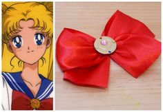 its ready to wear! usagi tsukino& first transformation brooch from the anime series(brass, swarovski gems and satin ribbon) Piece Of Me, Ready To Wear, Swarovski, Ribbon, Gems, Satin, Brass, Brooch, Anime