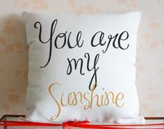Quote Pillow Cover, personalized quote pillows, quote prints, You Are My Sunshine Pillow, 18x18 canvas pillowcase,gift for her,Wholesale3329