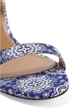 Aquazzura - Spin-me-around Leather-trimmed Printed Twill Sandals - Blue