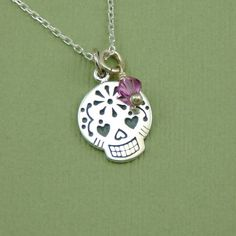 Sugar Skull Necklace , birthstone jewelry, day of the dead necklace, pendant, sterling silver, handmade, gift, personalized, beadwork. $36.00, via Etsy.