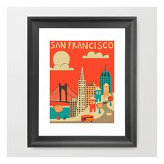 San Francisco Skyline Framed Art Print ($36) ❤ liked on Polyvore featuring home, home decor, wall art, framed art prints, framed wall art, abstract home decor, black home decor, landscape wall art and acrylic wall art