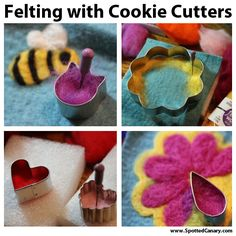 Needle Felting with Cookie Cutters - Lots of fun ideas! On Spotted Canary. Going to use to create accessories with zippers.Needle Felting with Cookie Cutters - Need to try this to get a more uniform shape. Needle Felted Animals, Felt Animals, Felted Wool Crafts, Needle Felting Tutorials, Felt Diy, Felt Hearts, Wet Felting, Felt Ornaments, Felt Flowers
