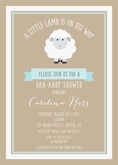 lamb baby shower invitations - Google Search