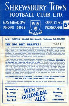 Shrewsbury Town 2 Everton 1 in Feb 1961 at Gay Meadow. Programme cover #LeagueCup5R