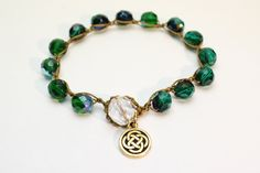 Items similar to Celtic Knot Bracelet, Blue Green Czech Glass, Celtic Sparkle on Etsy