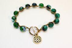 Celtic Knot Bracelet Blue Green Czech Glass by OHineKnotwork