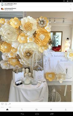 15 chic ways to use paper flowers at your wedding that one day paper backdrop wedding junglespirit Image collections