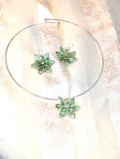 Green Crystal Necklace & Earrings Handmade Choker Set by