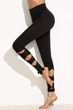 Shop Black Wide Waistband Tie Up Leggings online. SheIn offers Black Wide Waistband Tie Up Leggings more to fit your fashionable needs. Tie Up Leggings, Mode Des Leggings, Crop Top And Leggings, Sports Leggings, Leggings Fashion, Printed Leggings, Workout Leggings, Leggings Store, Cheap Leggings