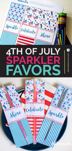 Looking for a fun party favor this Independence Day? Get this free printable to make these Sparkler Party Favors for your of July Party! Patriotic Crafts, July Crafts, Patriotic Party, 4th Of July Party, Fourth Of July, Indepedence Day, Blue Party, Throw A Party, Party Printables