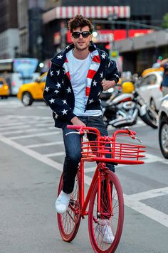 Just a cute dude in the red, white and blue. I'm liking this American boy.