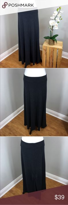 CAbi Grey Maxi Skirt CAbi Grey Maxi Skirt. Size medium and the length is 38' long. Pre-owned condition with basic wear. Great fall skirt the material is a waffle like knit. ❌I do not Trade 🙅🏻 Or model💲 Posh Transactions ONLY CAbi Skirts Maxi