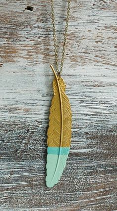 Mint Green Gold FEATHER Pendant Long Necklace