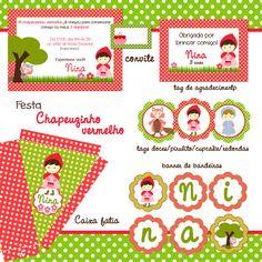 Festa personalizada Chapeuzinho Vermelho Red Riding Hood, Little Red, Alice, 1, Party Ideas, Birthday, Party Kit, Invitations, Kids Part