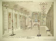 The Music Room in House for an Art Lover by Charles Rennie Mackintosh is what inspired me to study Interior Design. This image sparked my passion for interiors and my love of Art Nouveau style architecture. Art Nouveau, Charles Rennie Mackintosh Designs, Charles Mackintosh, House For An Art Lover, Glasgow School Of Art, Glasgow Girls, Vienna Secession, Frames For Canvas Paintings, Affordable Wall Art