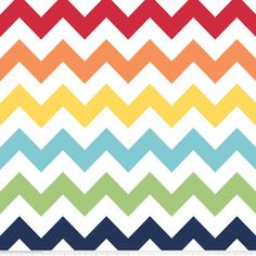 Riley Blake Designs - Flannel Basics - Medium Chevron in Rainbow