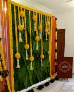 Banana leaves n marigold tassles for backdrop. Desi Wedding Decor, Wedding Stage Decorations, Backdrop Decorations, Flower Decorations, Backdrops, Wedding Blog, Naming Ceremony Decoration, Housewarming Decorations, Background Decoration