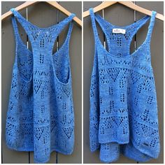 Adorable Blue Hollister Crochet Tank Top! Perfect as a cover-up & as a top! Size S/M & only $19 shipped! #forsale #inselly