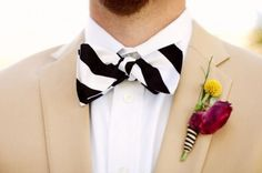 Striped bowtie: http://www.stylemepretty.com/2014/10/03/8-ways-to-use-stripes-in-your-wedding/ | Courtesy of Floridan Wedding: