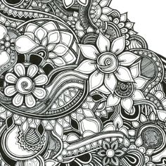 #doodles, #tangle art, #zia,   flowers drawn with a pen