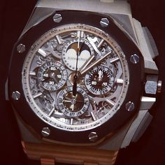 Highly limited edition Audemars Piguet Royal Oak Offshore Grand Complication #watch with skeletonized dial and massive case. Very interesting and exclusive.