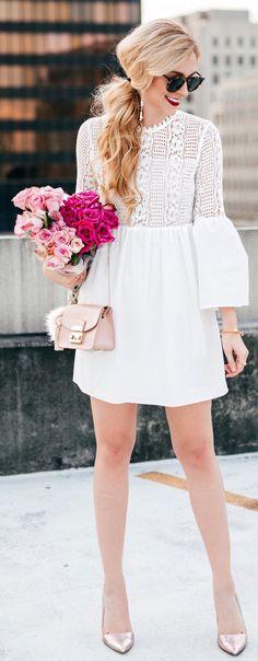 White Lace Dress / Metallic Pumps