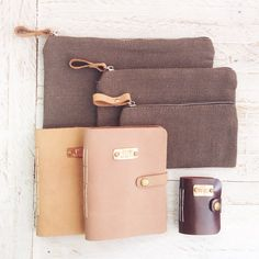 Canvas and genuine leather pouches and journals by Papemelroti. Visit www.papemelroti.com for more!