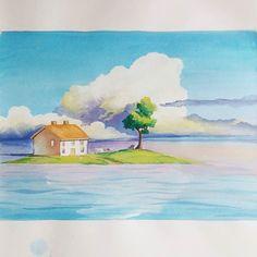 Scenery from Spirited Away train scene #spiritedaway #studioghibli #ghibli #illustration #watercolor #hayaomiyazaki by h_u_i_j_i_ng