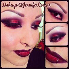 Vampy Valentine #Makeup. #nightmoth & #cherry #maclipliner, drawn on eyebrow hairs. vampire goth punk makeup lipstick smokey eyes