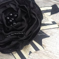 Halloween Black and Cream bow with striped by #LittleSparrowBows