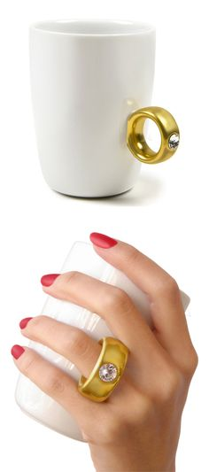 Diamond ring coffee cup // Two carat gold espresso! #product_design