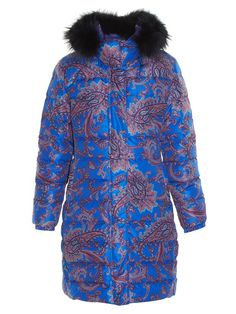 Etro Fur-trimmed paisley-print quilted coat