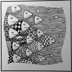 Cute fishies, zentangle fun -- step-out and finished examples mindful doodl Fish Zentangle, Dibujos Zentangle Art, Zentangle Drawings, Doodle Drawings, Doodle Art, Zentangles, Fish Patterns, Doodle Patterns, Zentangle Patterns