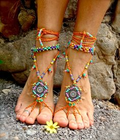GYPSY summer BAREFOOT SANDALS sole less sandals beach wedding rainbow dance jewelry slave anklet foot jewelry bohemian shoes unique Hippie Style, Hippie Boho, Bohemian Shoes, Style Boho, Gypsy Style, Boho Gypsy, Bohemian Jewelry, My Style, Hippie Music
