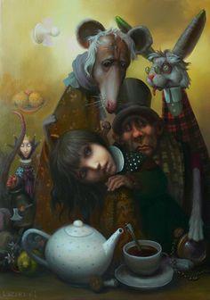 Alice in Wonderland by Igor Lazarev Lewis Carroll, Alice In Wonderland Drawings, Chesire Cat, Alice Madness, Mad Hatter Tea, Mad Hatters, Adventures In Wonderland, Magritte, Pop Surrealism