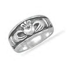 Men's Sterling Silver Inset Claddagh Design Ring