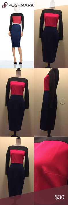 Roland Mouret for Banana Republic Color blocked dress. Long sleeves. Please note the pen mark at bust. Banana Republic Dresses Midi