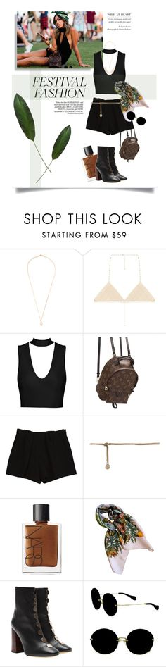 """""""Untitled #164"""" by hulahoneyjules ❤ liked on Polyvore featuring Jacquie Aiche, 8 Other Reasons, Louis Vuitton, Chloé, NARS Cosmetics, Hermès, E L L E R Y and Miu Miu"""