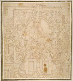 Escuela de Fontainebleau   Diseño para la decoración de una pared con un Dios del río y putti cargando los símbolos del rey François I   1530 - 1547   Metropolitan Museum of Art, New York, USA