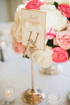 Table Numbers - Elegant + Glitter Edge. More of the wedding on #smp here: http://www.StyleMePretty.com/northwest-weddings/2014/04/25/elegant-black-tie-seattle-golf-club-wedding/ - Photography: onelove photography - onelove-photo.com