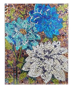Look what I found on #zulily! Blue Dahlias Mosaic Wall Décor #zulilyfinds