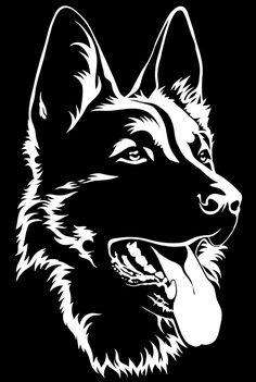 Black silhouette of a sitting German Shepherd Black and white - Comprar este vetor do stock e explorar vetores semelhantes no Adobe Stock Dog Stencil, Animal Stencil, Stencil Art, Stencils, Dog Silhouette, Black Silhouette, Animal Drawings, Art Drawings, Wood Burning Art