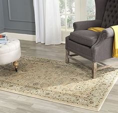 Safavieh Florenteen Collection FLR1251280 Traditional Oriental Ivory and Grey Area Rug 3 x 5 *** Click image to review more details.-It is an affiliate link to Amazon. #AreaRugsRunnersPads
