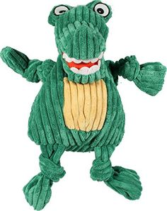 HuggleHounds Plush Corduroy Durable Knotties Alligator Dog Toy, Green/Yellow, Small * Want additional info? Click on the image.
